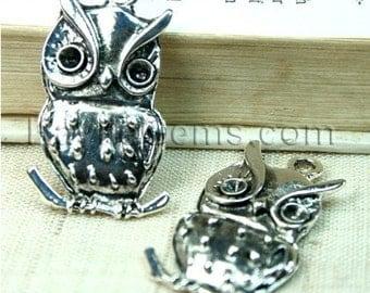 Owl Charm Pendant Antique Silver - 4pcs