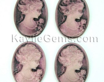 Cameo 18x25mm Antique Style Victorian Lady Portrait - Antique Fuchsia Face On Black Base  R04 -4pcs