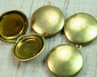 Round Locket 20mm Raw Brass Plain -LKRS-127RB - 4pcs