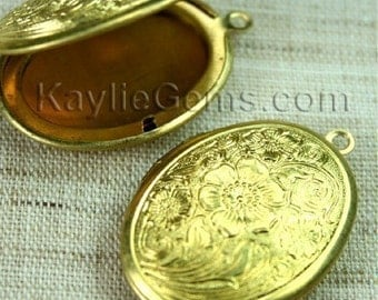 Lockets Oval Raw Brass Cherry Blossom Flower Victorian Style   -  LKOS-L1RB - 2pcs