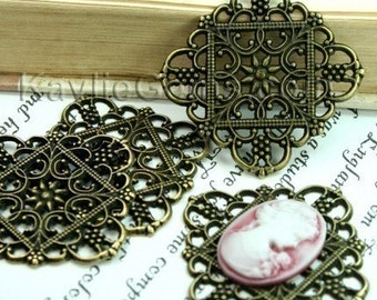 Square Antique Brass Victorian Style Filigree Embellished Connector, Cameo Cabochon Base -FRM-2690AB - 4pcs