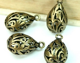 Antique Brass Pendants Charm Drops 3-D Lacy Floral Filigree Teardrop - 4pcs