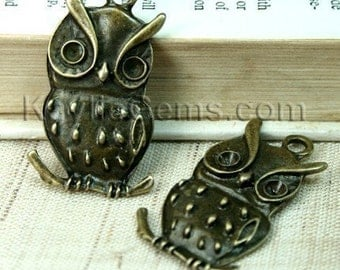 Owl Charm Pendant Antique Brass - 4pcs