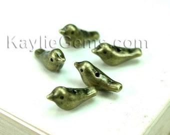Cute Metal Bird Beads Antique Brass - 8pcs