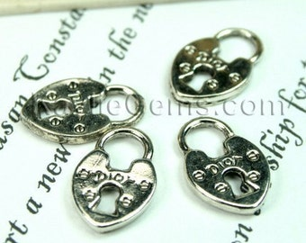 Antique Silver French Dior Lock Charms - 6pcs