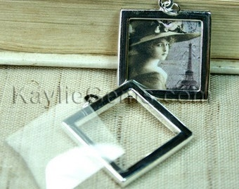 Picture Frame Charm Pendant Double Sided Rectagle Square 25x25mm - Silver Plated -4 Sets