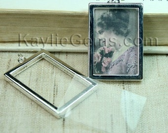 Picture Frame Charm Pendant Double Sided Rectangle Portrait 34x24mm - Silver Plated - 2 Sets
