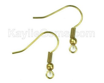 Raw Brass Earring Hook French Fishhook Hook Earwire Coil Ball - 50pcs