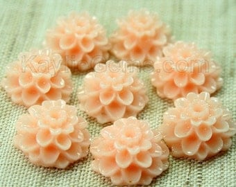 Dahlia Chrysanthemum Flower Cabochon Cabs 14mm - Peach - 8pcs