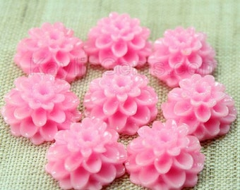 Dahlia Chrysanthemum Flower Cabochon Cabs 14mm - Pink - 8 pcs