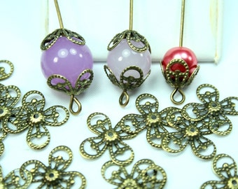 Filigree Bead Caps Fit 8-12mm Beads Antique Brass 4 leaves, Bend to fit -30pcs