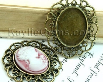Antique Brass Fits 18x25 Cameo Cab Setting Frame Base Filigree Victorian Style  -FRM-2927AB -4pcs