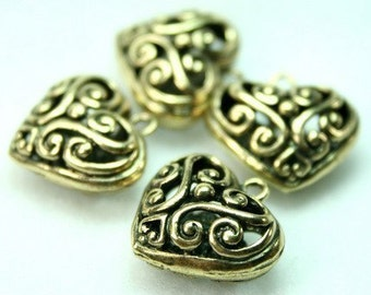 Antique Brass Filigree Heart Charms Lacy Floral - 4pcs