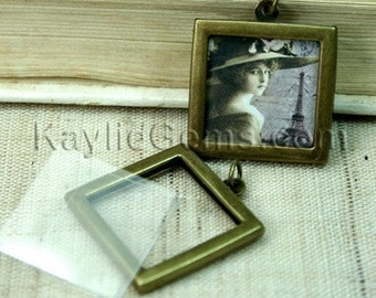 Picture Frame Charm Pendant Double Sided Rectagle Square 25x25mm - Antique Brass  2 Sets