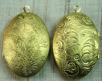 Oval 27x38mm Victorian Raw Brass Locket  Pendant -1pc