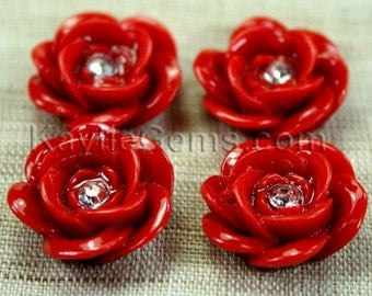 Resin Sparkling Rose Flower Cabochons 20mm - Fire Brick  Red - 4pcs