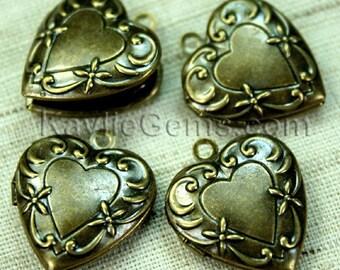 Heart Locket Antique Brass Victorian Style -LKHS-1398AB - 4 pcs