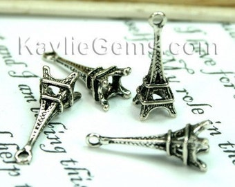 Paris Eiffel Tower charms Antique Silver - 6pcs