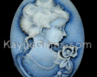 Cameos 29x39mm Shimmery Antique Victorian Lady Portrait - Light reflection Blue Shine - 2pcs