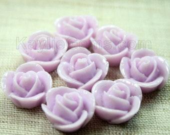 Rose Flower Cabochon Cabs 14mm - Lilac - 8pcs