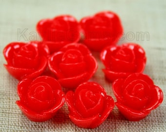 Rose Flower Cabochon Cabs 14mm - Bright Red - 8pcs