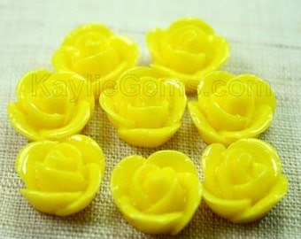 Rose Flower Cabochon Cabs 14mm - Bright Yellow - 8pcs