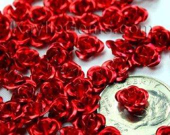 6mm Aluminum Rose Flower Beads - Red -30pcs