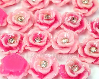 Sparkling Rhinestone Rose Flower Cabochons 13mm Flat Back - Pink - 8pcs