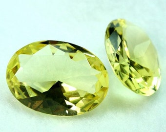 30x22 Oval Glass Jewel Faceted Diamond Cut Pointed Back Unfoiled - Citrine BY98 -1pc
