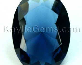22x30 Oval Glass Jewel Faceted Diamond Cut Pointed Back Unfoiled -Montana Blue BA206 -1pc