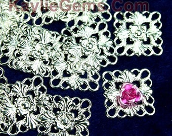 Silver Filigree Stamping Fancy Square Connector Finding Victorian 16mm - 24pcs