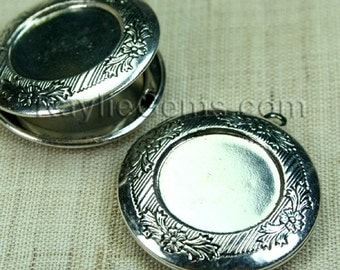 Round Locket Hand Touched Antique Silver Cameo Cabochon Setting Frame Victorian Style - LKRS-128AS - 2pcs