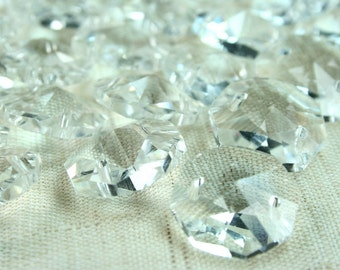Crystal Suncatcher 14mm Clear Octagon Faceted Radiate Cut 2 Hole Button Link Beads - 24pcs