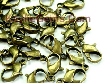 NEW Antique Brass Parrot Lobster Clasps 12mm - Strong - 30pcs