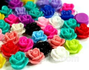 Rose Flower Cabochon Flat back  11mm Multi Color Mix 24pcs