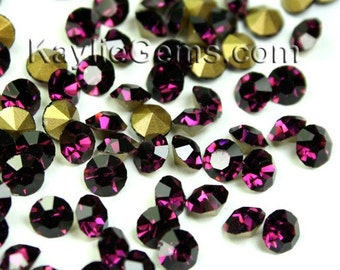 Rhinestone Chaton SS6 /2mm SS8.5/2.5mm, SS12/3mm, SS14/3.5mm, SS16/4mm, Pointed back Foiled - Amethyst -72 pcs - Pick your size