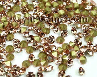 Rhinestone Chaton SS6 /2mm, SS12 /3mm, SS14/3.5mm, SS16/4mm, Pointed Back Foiled -Peach -72 pcs -Pick Your Size
