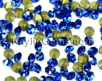 Rhinestone Chaton SS6.5 /2mm SS8.5 /2.5mm, SS12/3mm, SS14/3.5mm, SS16/4mm, Pointed back Foiled - Sapphire - 72 pcs -Pick Your Size
