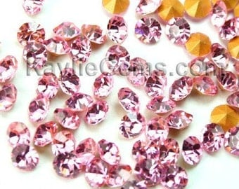 Rhinestone Chaton SS6 /2mm, SS8.5 /2.5mm, SS12/3mm, SS14/3.5mm, SS16/4mm, Pointed Back Foiled - Light  Rose -72 pcs -Pick Your Size