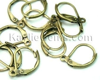 Leverback Earwires with Loop, Antique Brass 10x15mm  -EW-L10x15AB - 24 pcs