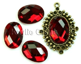 Mirror Glass Cabochon cab 18x13 Oval Checker Cut Faceted Dome -Ruby- 4pcs