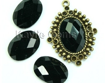 Mirror Glass Cabochon cab 18x13 Oval Checker Cut Faceted Dome -Jet Black- 4pcs