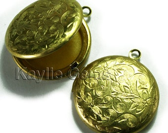 26mm Round Locket  Raw Brass Floral Victorian Style   - LKRS-L26RB - 2pcs
