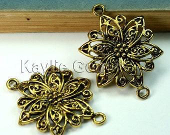 Filigree Flower Connector Antique Gold 40mm 2 Rings Twisted Petals - 4pcs