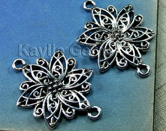 Filigree Flower Connector Antique Silver 40mm 2 Rings Twisted Petals - 4pcs