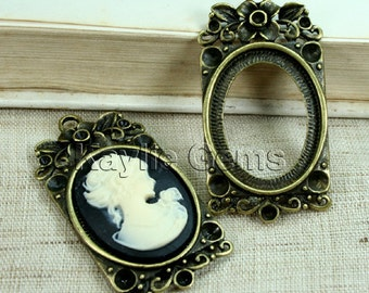 Cameo Setting Frame Base Pendant Antique Brass Victorian Decorative Rhinestone Cups  FRM-5826AB -4pcs