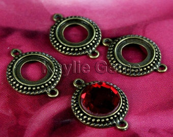 Round Cabochon Setting Frame Connector Fits 12mm Cab  Antique Brass  -FRM-5905AB-6pcs