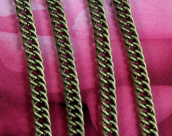 Heavy Double Curb Chain 5.5mm Wide Antique Brass  - 6ft