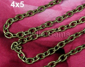 Antique Brass Chain Smooth 4x5 Oval Cable Cross Link Rolo - 6ft