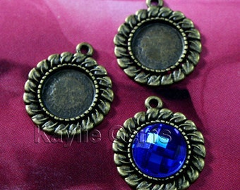 Leaf Edge Round 20mm Fits 12mm Cameo Cabochon Setting Frame Pendant Antique Brass  -FRM-6491AB - 6pcs